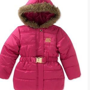 Juicy Pink Hooded Puffer Coat